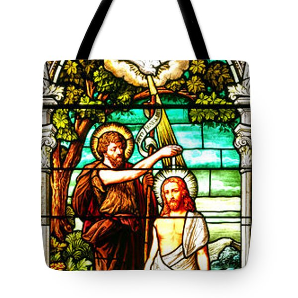 Tote Bag featuring the photograph Stained Glass Scene 2 Crop by Adam Jewell