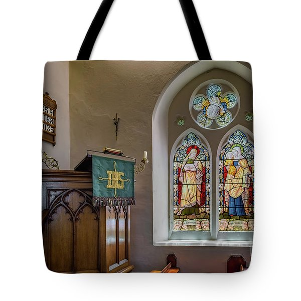 Tote Bag featuring the photograph Stained Glass Uk by Adrian Evans
