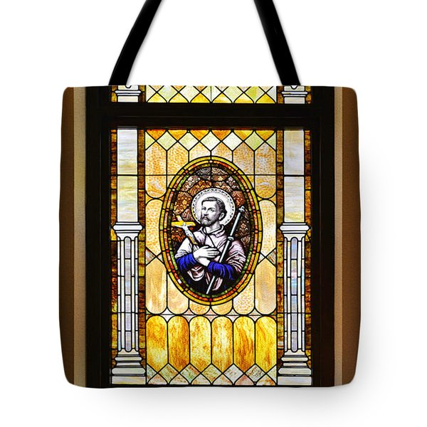 Tote Bag featuring the photograph Stained Glass Window Father Antonio Ubach by Christine Till