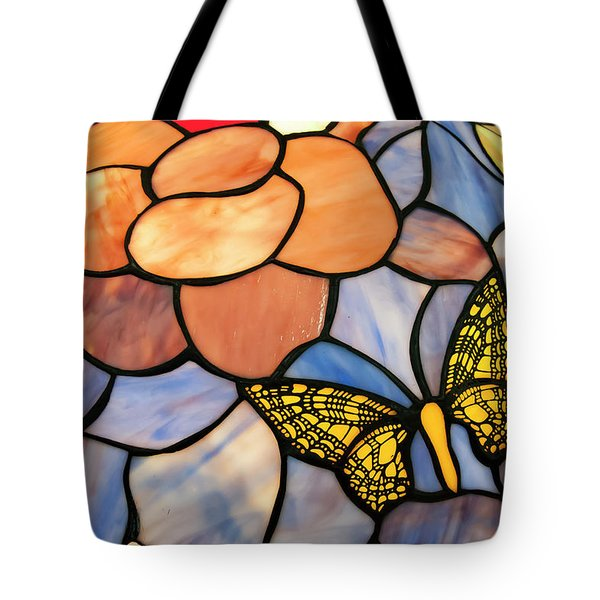 Tote Bag featuring the photograph Stained Glass With Butterfly by Chris Flees