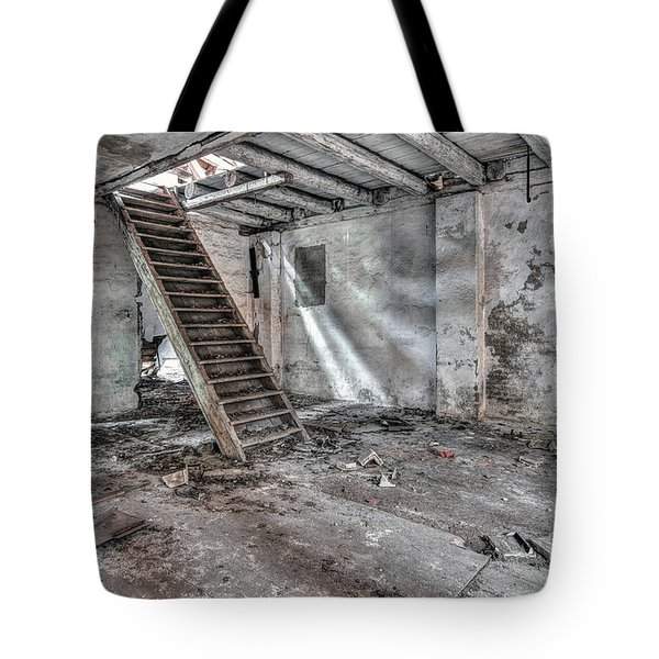 Tote Bag featuring the photograph Stair In Old Abandoned  Building by Michal Boubin