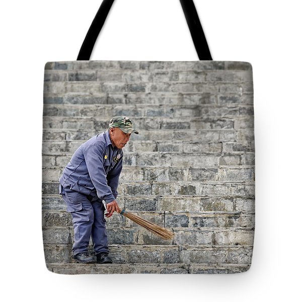 Stair Sweeper In Bhutan Tote Bag by Joe Bonita