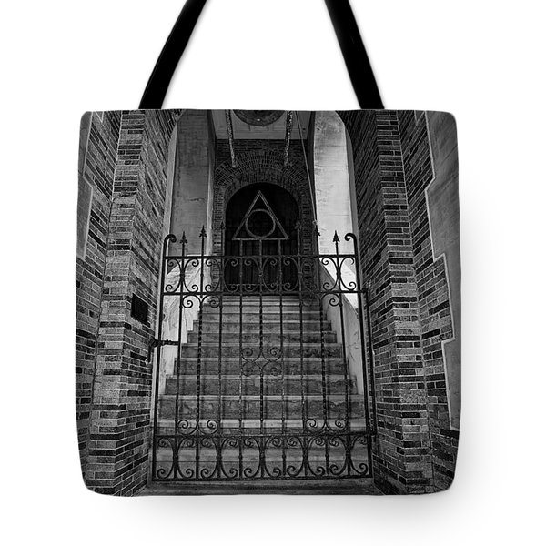 Stairs Beyond B-w Tote Bag by Christopher Holmes