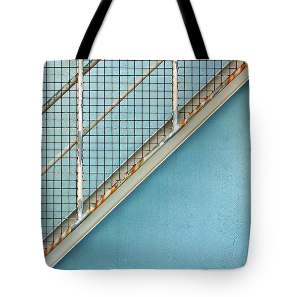 Stairs On Blue Wall Tote Bag