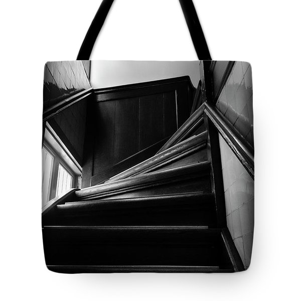 Tote Bag featuring the photograph Stairway In Amsterdam Bw by RicardMN Photography