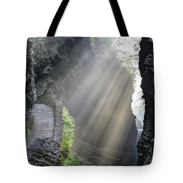 Tote Bag featuring the photograph Stairway Into The Light by Gene Walls