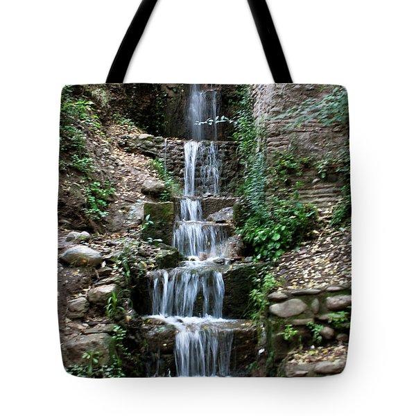 Stairway Waterfall Tote Bag by Lorraine Devon Wilke