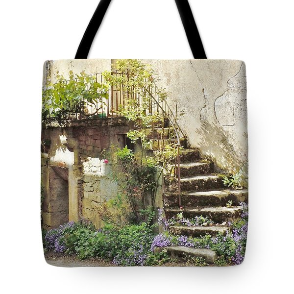Stairway With Flowers Flavigny France Tote Bag by Marilyn Dunlap