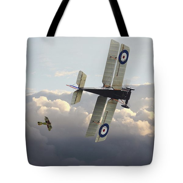 Tote Bag featuring the digital art Stalked - Se5 And Albatros Dlll by Pat Speirs