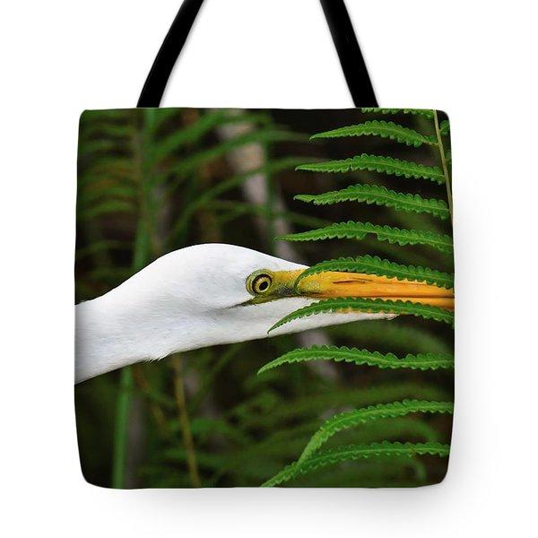 Stalking The Hopper - Egret Tote Bag