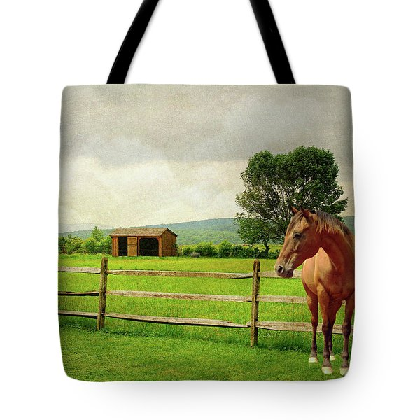 Tote Bag featuring the photograph Stallion At Fence by Diana Angstadt