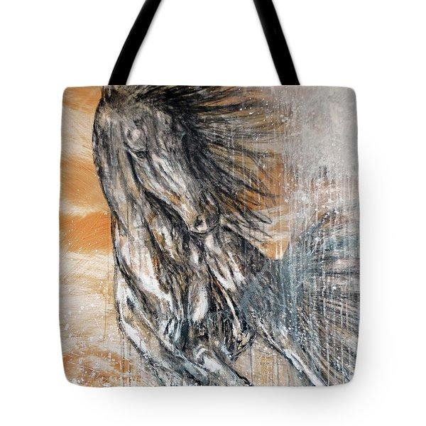 Tote Bag featuring the painting Stallion Fury by Jennifer Godshalk