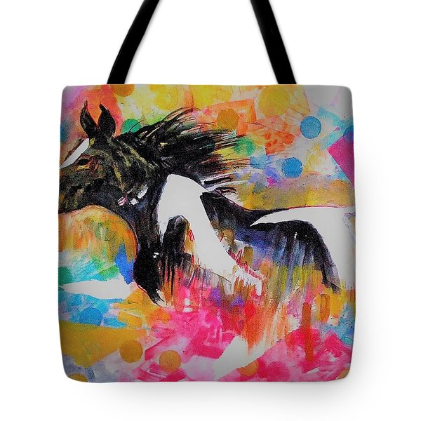 Stallion In Abstract Tote Bag