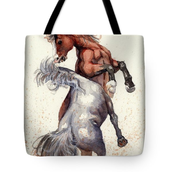 Stallion Showdown Tote Bag by Margaret Stockdale