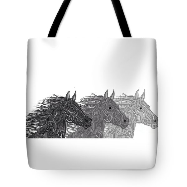 Tote Bag featuring the drawing Stallions Shades by Nick Gustafson