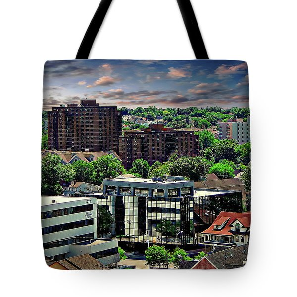Stamford Cityscape Tote Bag by Anthony Dezenzio