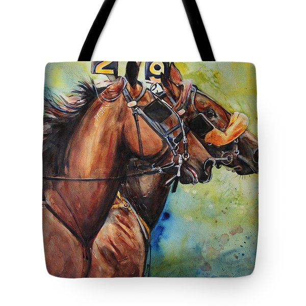 Standardbred Trotter Pacer Painting Tote Bag by Maria's Watercolor