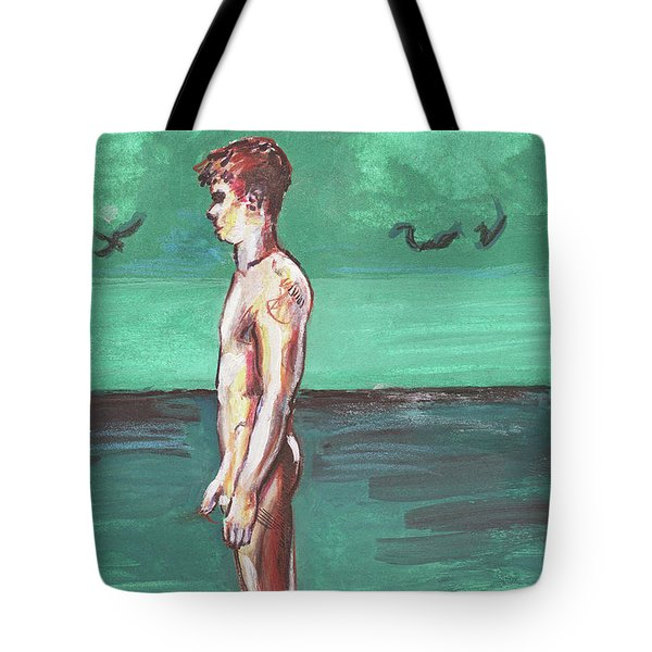 Standig On A Cold Beach With Hesitation  Tote Bag