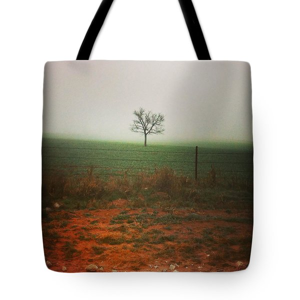 Standing Alone, A Lone Tree In The Fog. Tote Bag