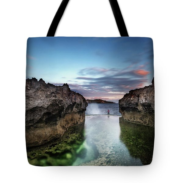 Standing At The Tip Of Sea Tote Bag