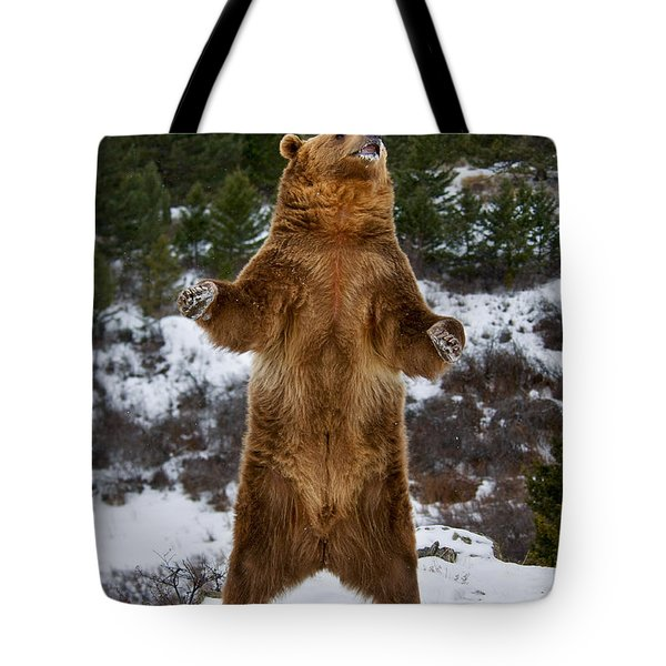 Standing Grizzly Bear Tote Bag