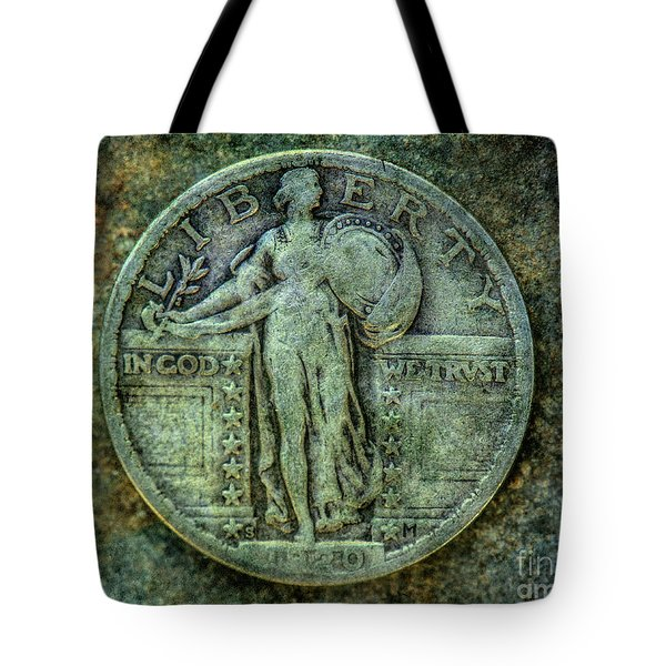 Tote Bag featuring the digital art Standing Libery Quarter Obverse by Randy Steele