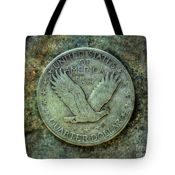 Tote Bag featuring the digital art Standing Libery Quarter Reverse by Randy Steele