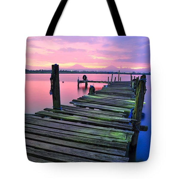 Standing On A Wooden Bridge Tote Bag