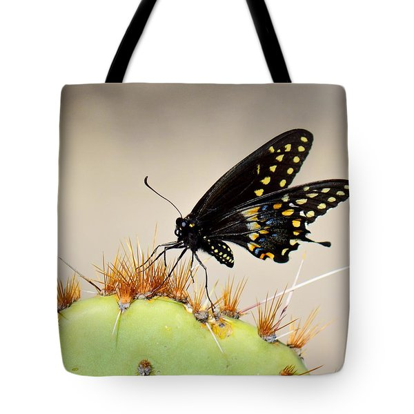 Standing On Spines - Black Swallowtail Tote Bag