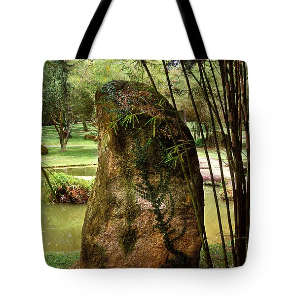 Tote Bag featuring the photograph Standing Stone With Fern And Bamboo 19a by Gerry Gantt