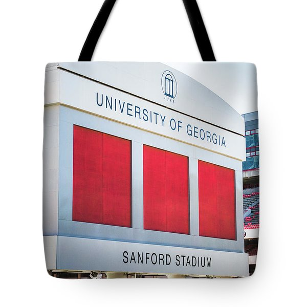 Tote Bag featuring the photograph Standing Tall Over Sanford Stadium  by Parker Cunningham