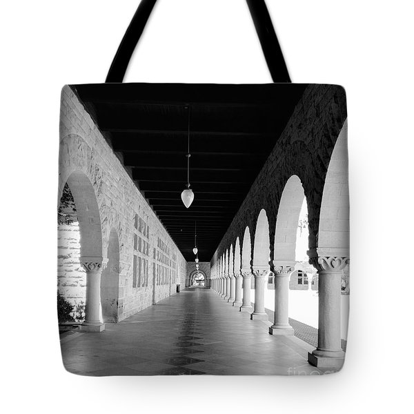 Stanford University Hallway Black And White Tote Bag