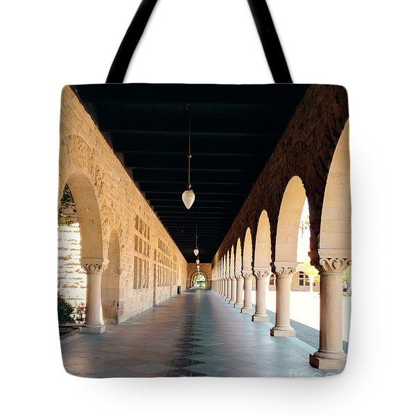 Tote Bag featuring the photograph Stanford University Hallway by Haleh Mahbod