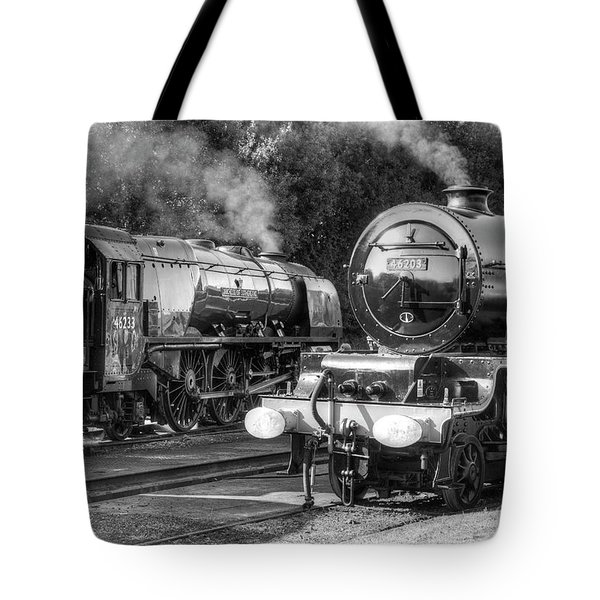 Tote Bag featuring the photograph Stanier Pacifics At Swanwick by David Birchall