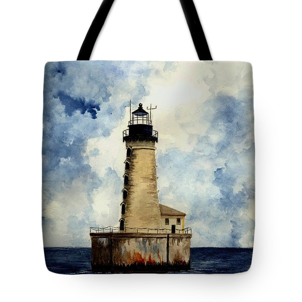 Stannard Rock Lighthouse Tote Bag by Michael Vigliotti