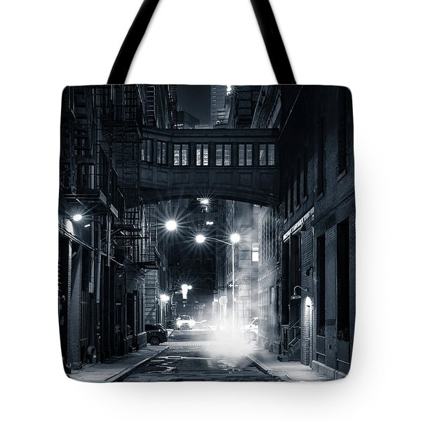 Tote Bag featuring the photograph Staple Street Skybridge By Night by Mihai Andritoiu