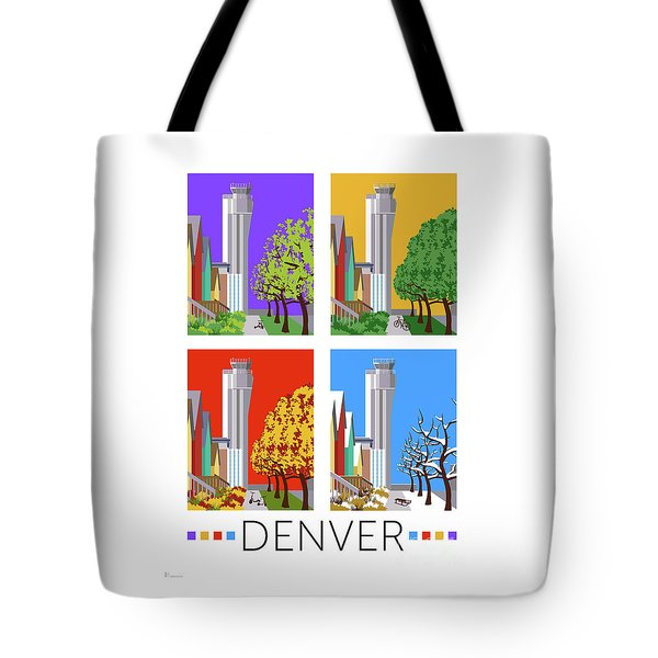 Tote Bag featuring the digital art Stapleton Four Seasons by Sam Brennan