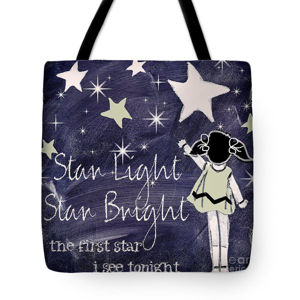 Star Light Star Bright Chalk Board Nursery Rhyme Tote Bag by Mindy Sommers