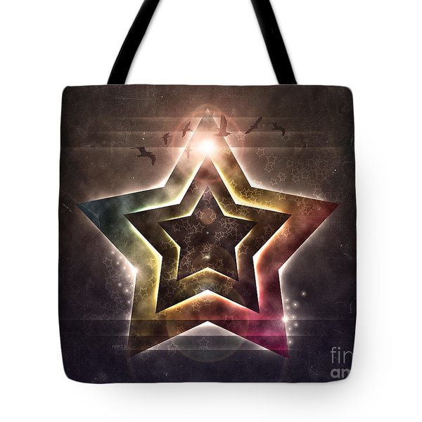 Tote Bag featuring the digital art Star Lights by Phil Perkins
