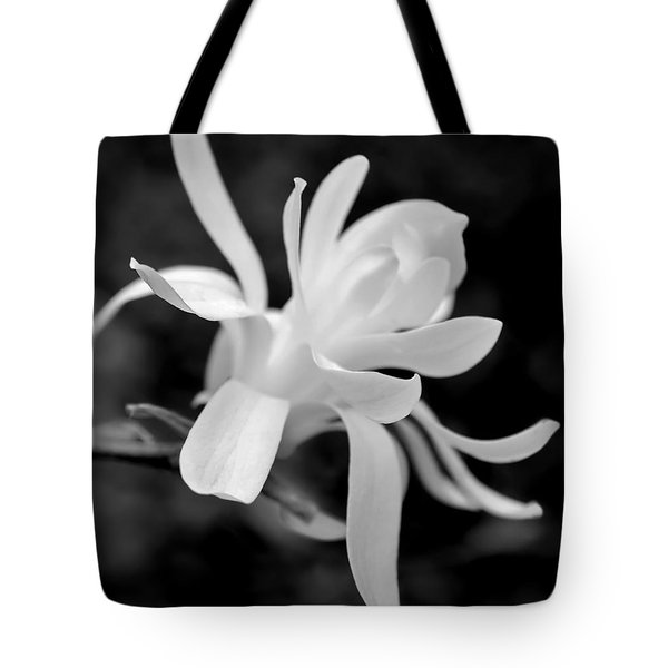 Star Magnolia Flower Black And White Tote Bag