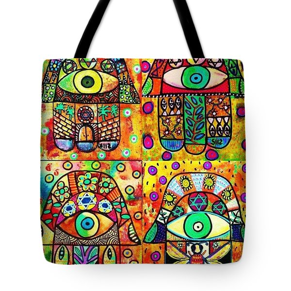 Star Of David Hamsa Tote Bag