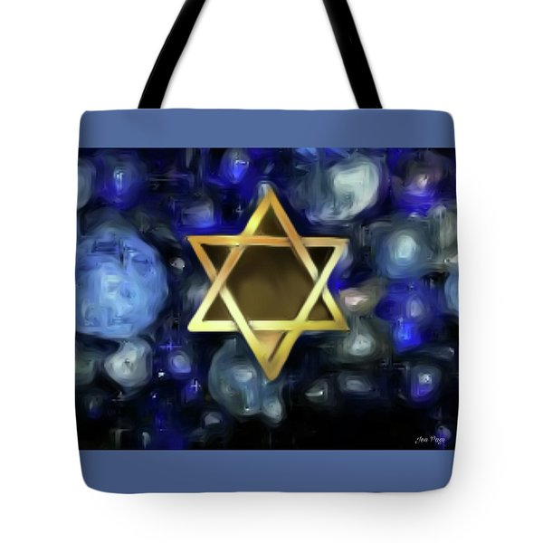Tote Bag featuring the digital art Star Of David by Jennifer Page