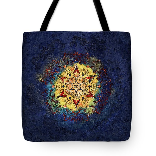 Star Shine Blue And Gold Tote Bag