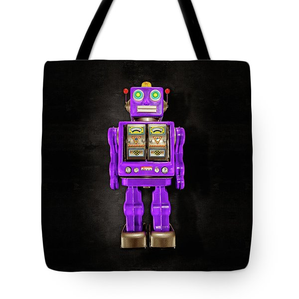Tote Bag featuring the photograph Star Strider Robot Purple On Black by YoPedro