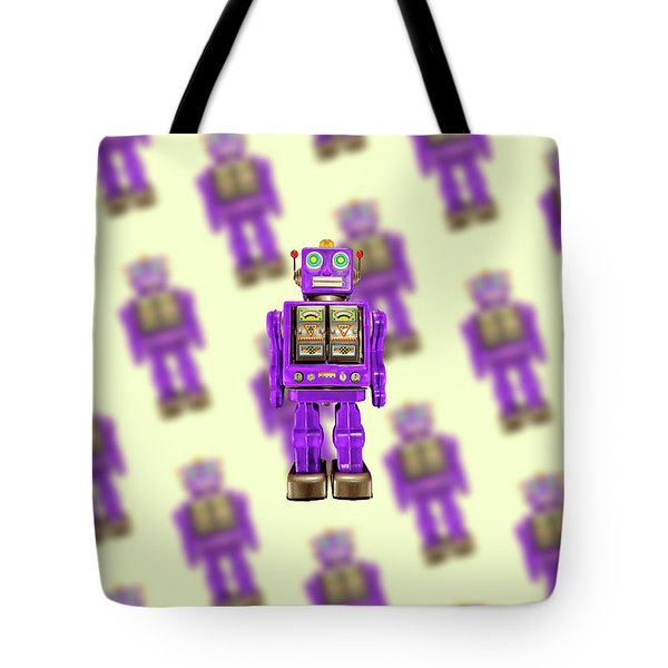 Tote Bag featuring the photograph Star Strider Robot Purple Pattern by YoPedro