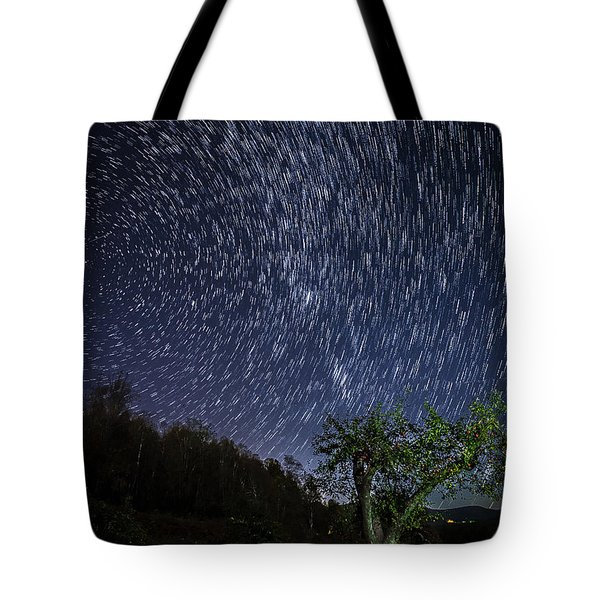 Tote Bag featuring the photograph Star Trail Over The Blue Ridge by Serge Skiba