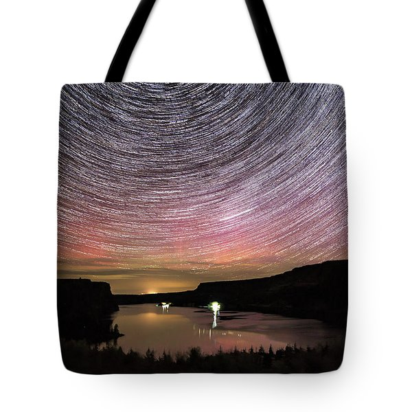 Tote Bag featuring the photograph Star Trails And Aurora At Billy Chinook by Cat Connor