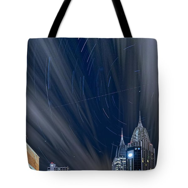 Star Trails And City Lights Tote Bag