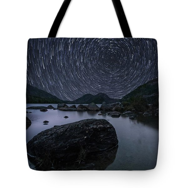Star Trails Over Jordan Pond Tote Bag