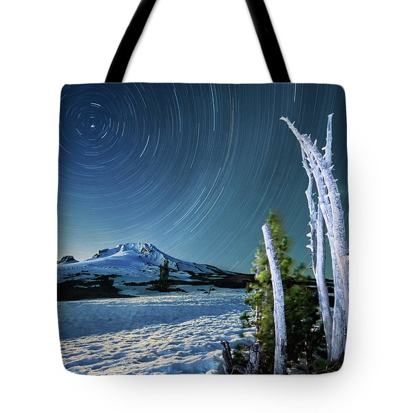 Tote Bag featuring the photograph Star Trails Over Mt. Hood by William Lee